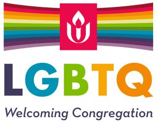 Rainbow banner with UUA chalice logo LGBTQ Welcoming Congregation