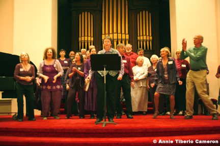 Choir performing at the front of the church