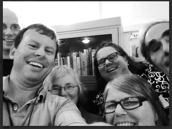 Six Religious Education teachers squeeze into one selfie