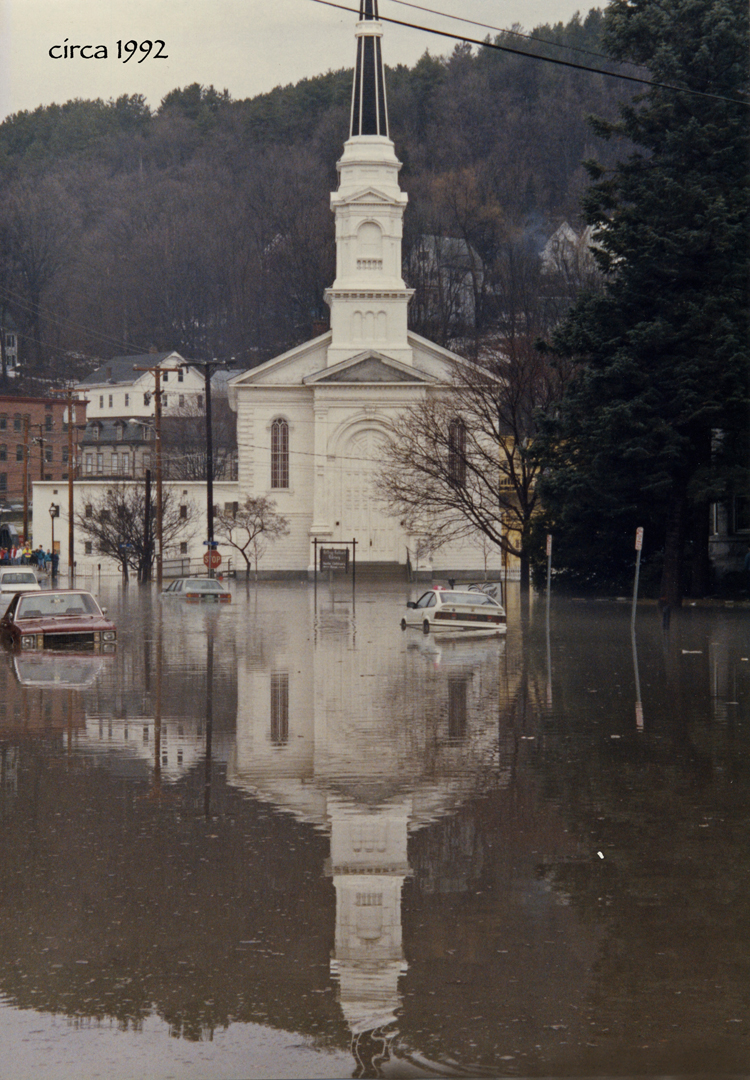 View of the church from the street during the Flood 1992
