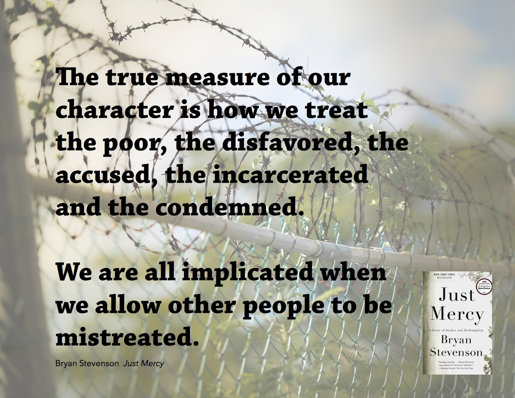"""The true measure of our character is how we treat the poor, the disfavored, the accused, the incarcerated, and the condemned. We are all implicated when we allow other people to be mistreated."" - Bryan Stevenson, Just Mercy"